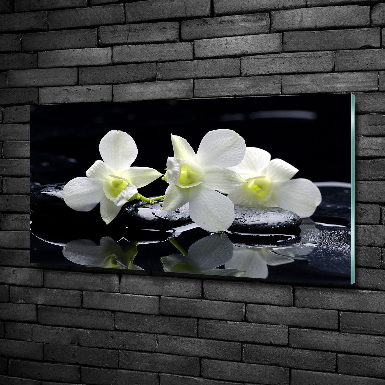 Glas-Bild Wandbilder Druck auf Glas 125x50 Deko Blumen /& Pflanzen Weiße Orchidee