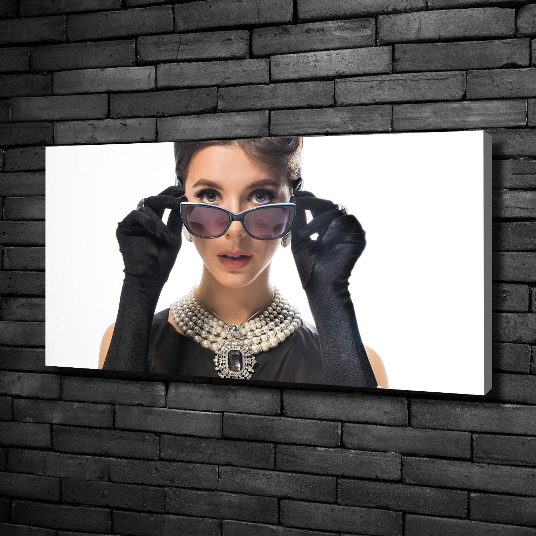 Leinwandbild Kunst-Druck 100x50 Bilder Menschen Frau in Schwarz