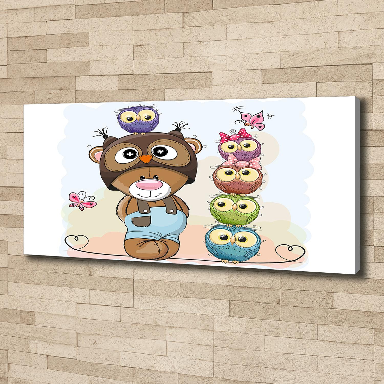 Details zu Leinwandbild Kunst-Druck 125x50 Bilder Kinderzimmer Teddybär und  Eulen