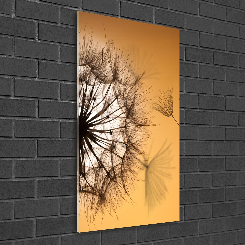 Wandbild Kunst-Druck auf Hart-Glas hochkant 50x100 Pusteblume