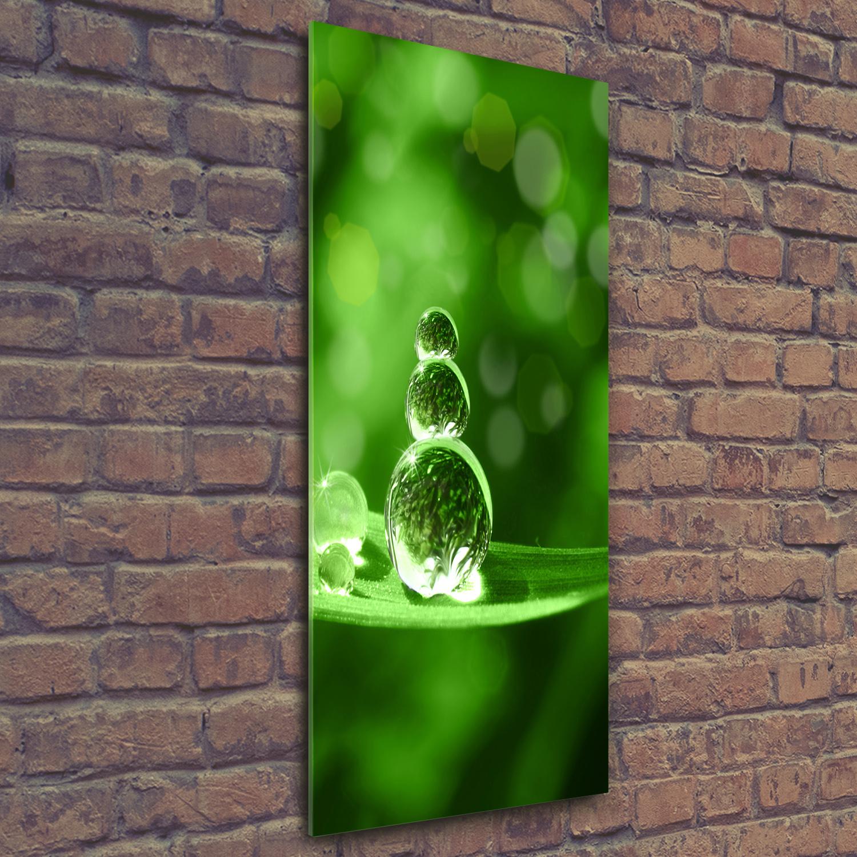 Wand-Bild Kunstdruck aus Hart-Glas Hochformat 50x125 Wassertropfen