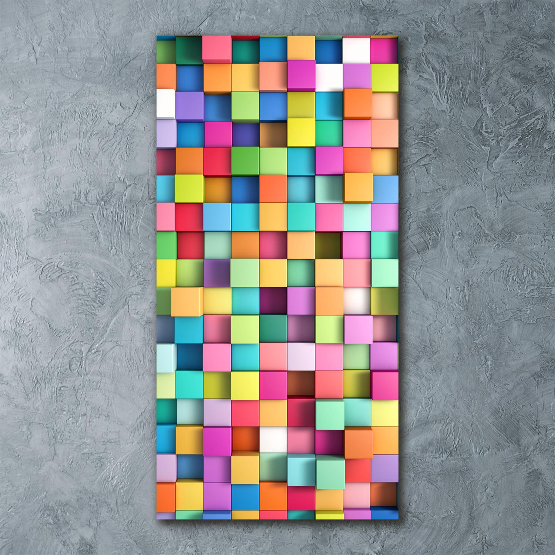Wandbild Kunst-Druck auf Hart-Glas hochkant 50x125 3D-Figuren