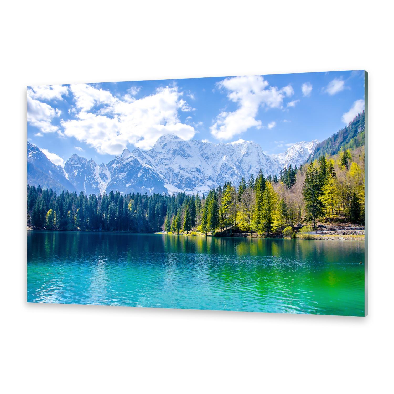 glasbilder wandbild druck auf glas bergsee ebay. Black Bedroom Furniture Sets. Home Design Ideas