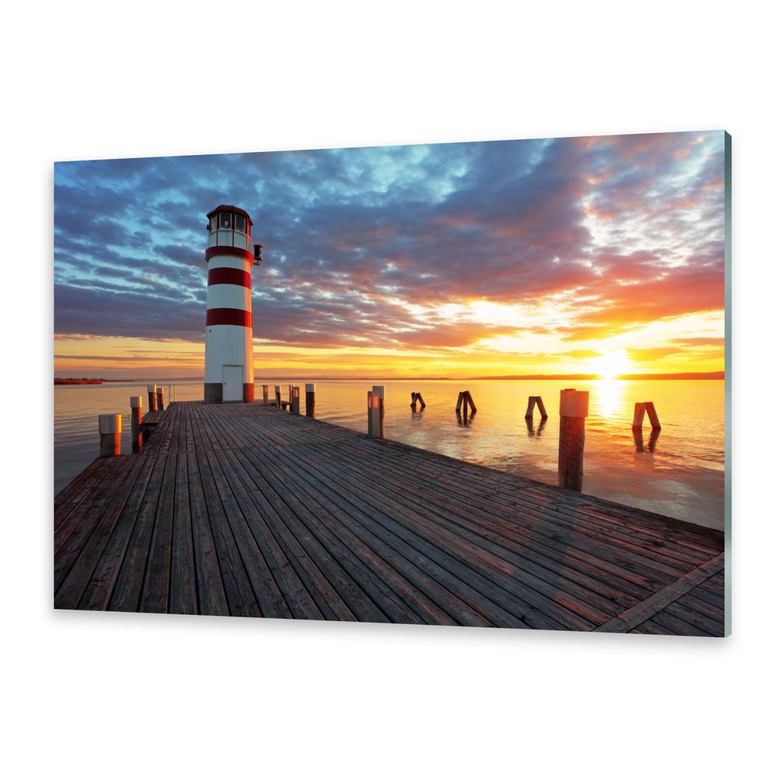 glasbilder wandbild druck auf glas leuchtturm am see ebay. Black Bedroom Furniture Sets. Home Design Ideas