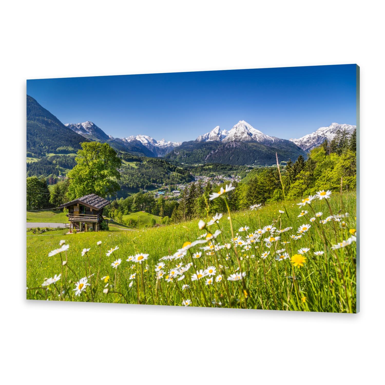 Glas-Bild Wandbilder Druck auf Glas 100x50 Deko Landschaften Berge Hütte