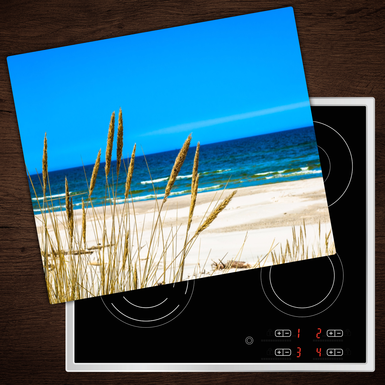 Herd-Abdeckplatte Glas Ceranfeld-Abdeckung Deko Meer Gras 2x30x52 cm