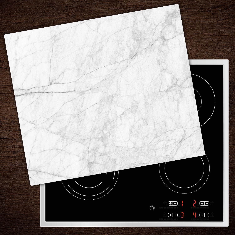 herd abdeckplatte glas ceranfeld abdeckung deko weisser marmor 60x52 cm ebay